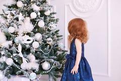 ballerina λίγα Άσπρη ανασκόπηση μπλε φόρεμα maike οικολογικός ξύλινος διακοσμήσεων Χριστουγέννων Στοκ φωτογραφία με δικαίωμα ελεύθερης χρήσης
