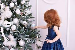 ballerina λίγα φωτεινό εσωτερικό μπλε φόρεμα maike οικολογικός ξύλινος διακοσμήσεων Χριστουγέννων Στοκ Φωτογραφία