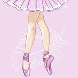 Ballerina Λεπτά πόδια στις παντόφλες μπαλέτου απεικόνιση αποθεμάτων