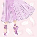 Ballerina Λεπτά πόδια στις παντόφλες μπαλέτου ελεύθερη απεικόνιση δικαιώματος