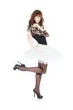 Ballerina με τα παπούτσια μπαλέτου pointes στο λευκό στοκ φωτογραφία με δικαίωμα ελεύθερης χρήσης