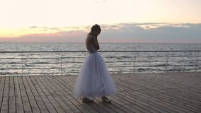 Ballerina χορού που ασκεί στο ανάχωμα επάνω από τον ωκεανό ή τη θάλασσα στην ανατολή ή το ηλιοβασίλεμα Νέα γυναίκα που ανατρέπετα φιλμ μικρού μήκους