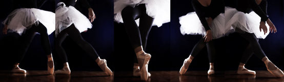 Ballerina ballet legs. Ballerina in ballet legs in shoes and white tutu dancing Stock Images