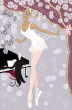 Ballerina. Graceful ballerina on the stage showered with flowers and  pianist at the piano in the background - vector illustration Royalty Free Stock Images