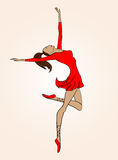 Ballerina. Dancing in red clothes, isolated Royalty Free Stock Photos