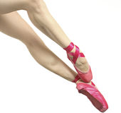 Ballerina. In pink pointe shoes Stock Photos