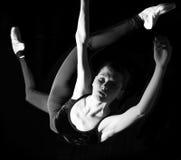Ballerina. Young thin female ballerina on pointe stock photo