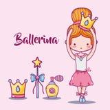 Ballerina accesories decoration to elegance performance. Vector illustration Royalty Free Stock Photos