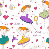 Ballerina and accessories seamless pattern Royalty Free Stock Photography