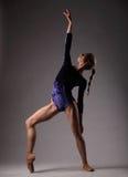 Ballerina in attrezzatura blu che posa, giovane bella donna esile Fotografie Stock Libere da Diritti