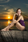 Ballerina auf Tennisplatz Lizenzfreies Stockfoto