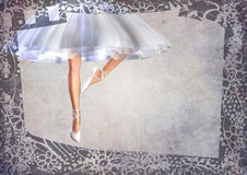 Ballerina ballet-dancer legs post card with frame Stock Photography