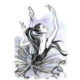 Ballerina ballgames Χορεύοντας κορίτσι στα παπούτσια Pointe watercolor διάνυσμα ελεύθερη απεικόνιση δικαιώματος
