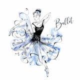 Ballerina ballgames Wilis Χορεύοντας κορίτσι στα παπούτσια Pointe watercolor διάνυσμα ελεύθερη απεικόνιση δικαιώματος