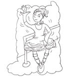 ballerina at the barre,chine drawn by color Stock Photography