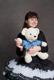 Ballerina with bear Royalty Free Stock Photography