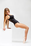 Ballerina in black outfit Royalty Free Stock Images