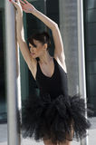 Ballerina in black tutu outdoor Royalty Free Stock Photos
