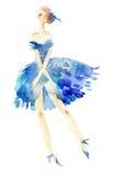 Ballerina in blue dress. Stock Photos