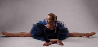 Ballerina in blue outfit show split on the studio floor. Ballerina in blue outfit posing on toes, studio background Stock Photography