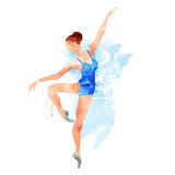 Ballerina in blue vector watercolor Royalty Free Stock Photo