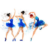 Ballerina in blue  watercolor Royalty Free Stock Images