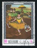 Ballerina with Bouquet by Degas. RAS AL KHAIMA - CIRCA 1968: stamp printed by Ras al Khaima, shows Ballerina with Bouquet by Degas, circa 1968 royalty free stock photo