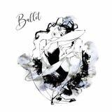 Ballerina. Cabaret dancer. Moulin Rouge. Dancing. watercolor. Vector illustration vector illustration