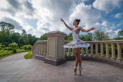 Ballerina che balla vicino alle colonne, stanti nella posizione del pointe All'aperto, molla Immagini Stock