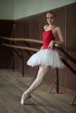 Ballerina che sta vicino alla barra sulla punta dei piedi Fotografia Stock
