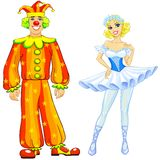 Ballerina and clown couple Stock Images