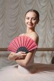 Ballerina con il fan Fotografia Stock