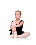 Ballerina crying. Little ballerina crying from exhaustion Stock Photo