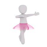 Ballerina 3d, die rosa Ballettröckchen beim Tanzen trägt Stock Abbildung