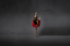 Ballerina dance on point. Empty room royalty free stock photos