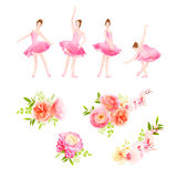 Ballerina dance poses and fresh spring flower bouquets vector design Stock Photo