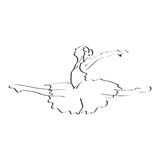 Ballerina dancer action in flying; performance jump in line art illustration Royalty Free Stock Image