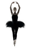 Ballerina dancer dancing woman  isolated silhouette Royalty Free Stock Photos