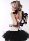 Ballerina dancer girl with blond hair in luxurious dancing clothes Stock Images