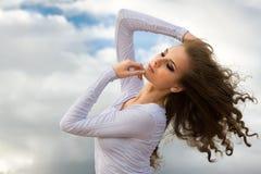 Ballerina is dancing on the beach Stock Photos