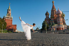 Ballerina dancing in the center of Moscow Royalty Free Stock Photo