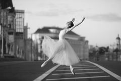 Ballerina dancing in the center of Moscow Royalty Free Stock Images