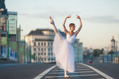 Ballerina dancing in the center of Moscow Royalty Free Stock Photos