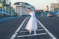 Ballerina dancing in the center of Moscow Stock Photos