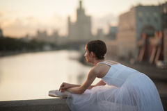 Ballerina dancing in the center of Moscow Royalty Free Stock Image