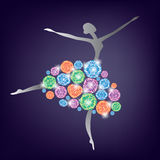 Ballerina. Dancing in a dress made of precious stones Stock Photography