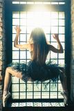 Ballerina dancing indoor, vintage. Healthy lifestyle ballet stock photography