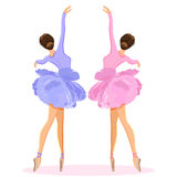 Ballerina dancing on pointe in flower tutu skirt vector set Royalty Free Stock Images