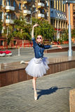 Ballerina dancing on the streets. Royalty Free Stock Photography