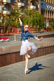 Ballerina dancing on the streets. Royalty Free Stock Photos